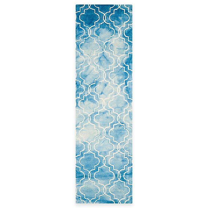Alternate image 1 for Safavieh Dip Dye Trellis 2-Foot 3-inch x 8-Foot Runner Rug in Blue/Ivory