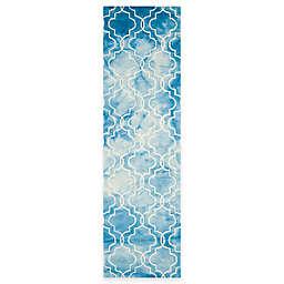 Safavieh Dip Dye Trellis 2-Foot 3-inch x 8-Foot Runner Rug in Blue/Ivory