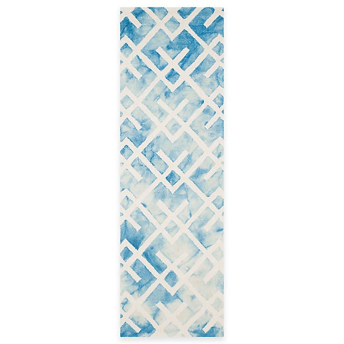 Alternate image 1 for Safavieh Dip Dye Angles Area 2-Foot 3-Inch x 8-Foot Runner in Blue/Ivory
