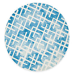 Safavieh Dip Dye Angles 7-Foot Round Area Rug in Blue/Ivory