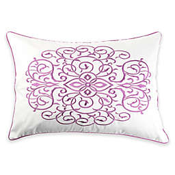 Canadian Living Summerside Embroidered Oblong Throw Pillow in White