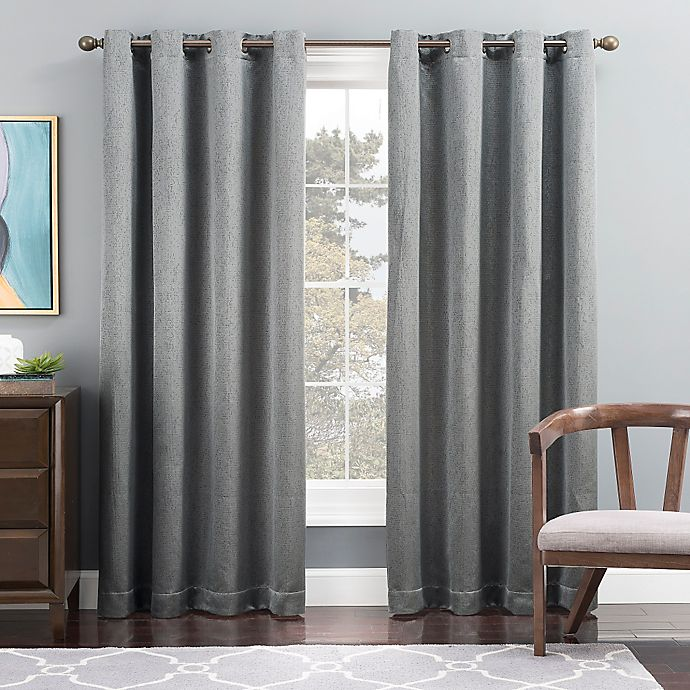 Alternate image 1 for Tribeca 95-Inch Grommet Top Lined Window Curtain Panel in Blue