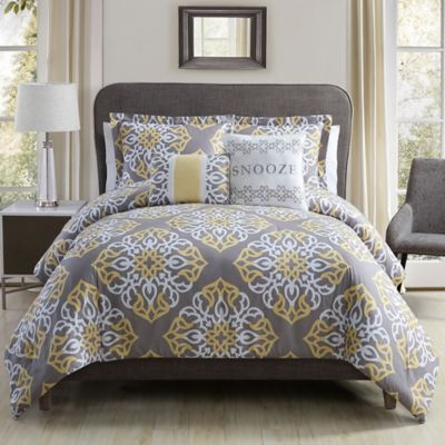 Snooze Comforter Set In Grey Yellow Bed Bath Amp Beyond
