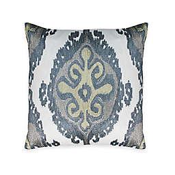 Austin Horn Classics Aqua Ikat Embroidery Square Throw Pillow
