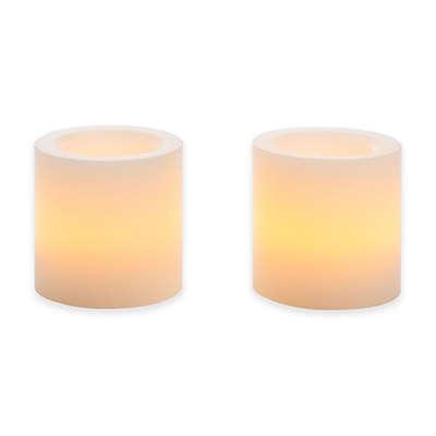 Flameless Mini Wax Pillar Candle (Set of 2)