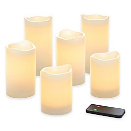Flameless LED Wax Pillar Candles with Remote (Set of 6)