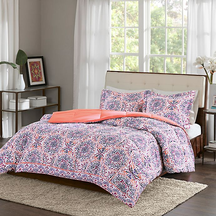 Intelligent Design Zoe Twin Twin Xl Comforter Set In Coral Bed