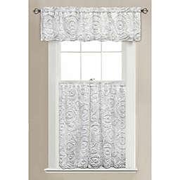Lush Décor Keila Bath Window Curtain Panel and Valance in White