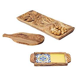 Kamsah Olive Wood Serveware and Barware Collection