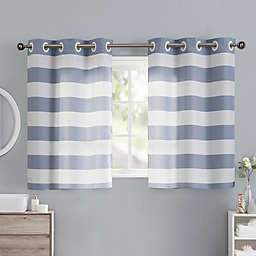 Cabana Stripe 38-Inch Bath Window Curtain Tier Pair in Blue