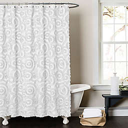 Lush Dcor Keila Shower Curtain In White