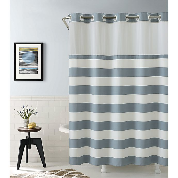 Alternate image 1 for Hookless Cabana Stripe 74-Inch x 71-Inch Shower Curtain in Blue
