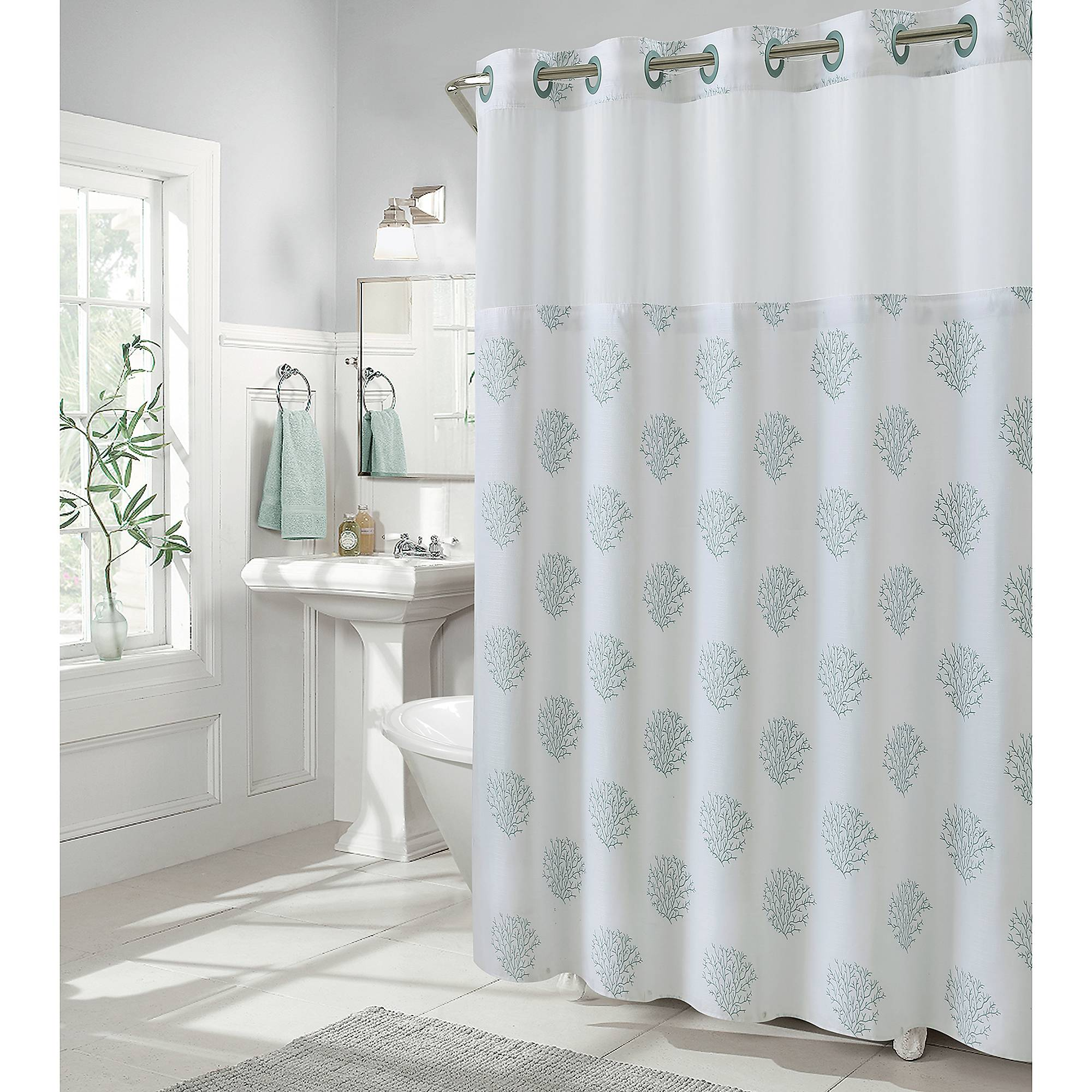 Details About Hookless Coral Reef 80 Inch X 54 Shower Curtain In Grey Mist