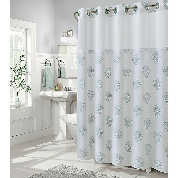 Shower Curtains At Bed Bath And Beyond hookless coral reef shower curtains | bed bath & beyond