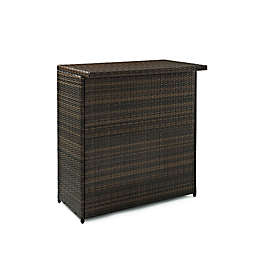 Crosley Palm Harbor Outdoor Wicker Bar in Brown