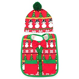 Ugly Christmas Sweater Bib and Hat Set