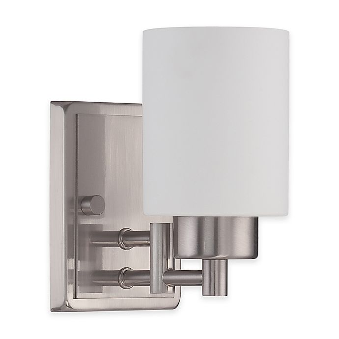 Alternate image 1 for Luminance Ledbury Sunset Lighting 1-Light Wall-Mount Vanity Fixture in Satin Nickel