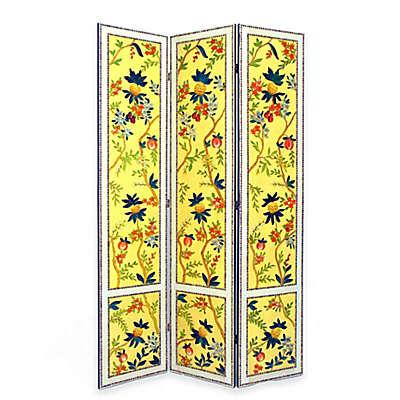 Wayborn Yanlan Floral Room Divider Screen in Yellow/Multi