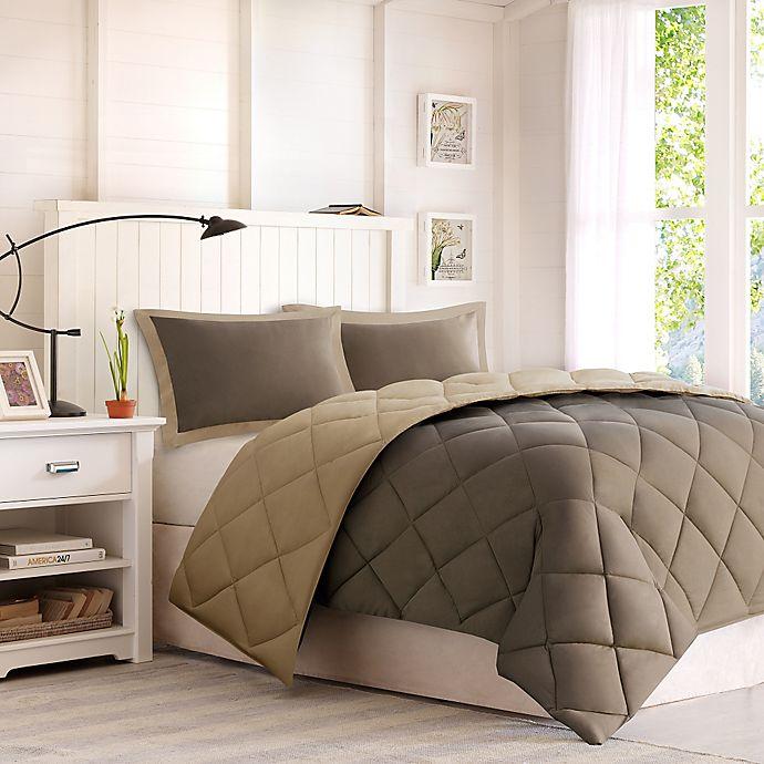 Alternate image 1 for Madison Park Essentials Larkspur Twin/Twin XL Down Alternative Comforter Mini Set in Brown