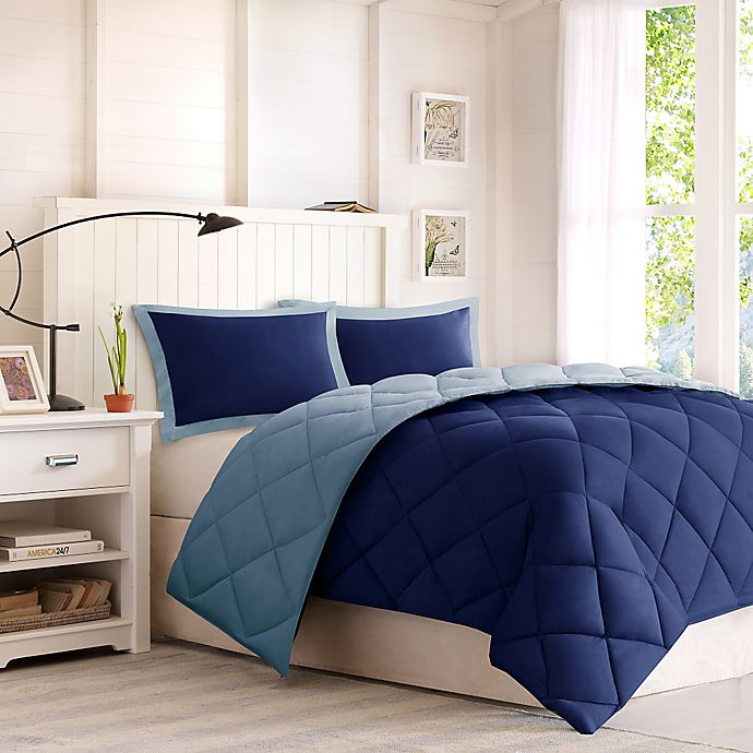 Alternate image 1 for Madison Park Essentials Larkspur Twin/Twin XL Down Alternative Comforter Mini Set in Navy