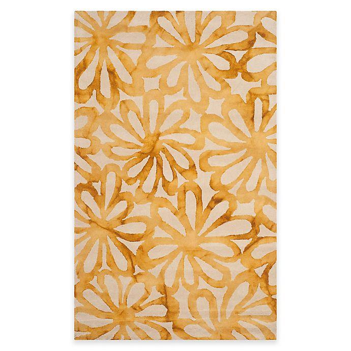 Alternate image 1 for Safavieh Dip Dye Floral Burst Rug in Beige/Gold