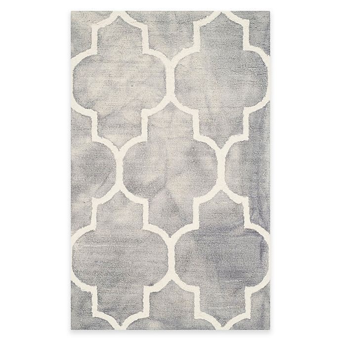 Alternate image 1 for Safavieh Dip Dye Trellis Point 2-Foot 6-Inch x 4-Foot Accent Rug in Grey/Ivory
