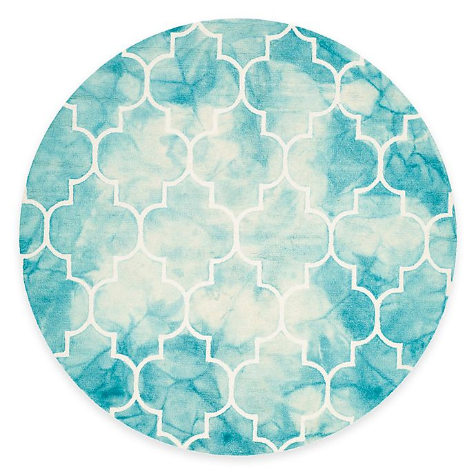 Alternate image 1 for Safavieh Dip Dye Trellis Point 7-Foot Round Area Rug in Turquoise/Ivory
