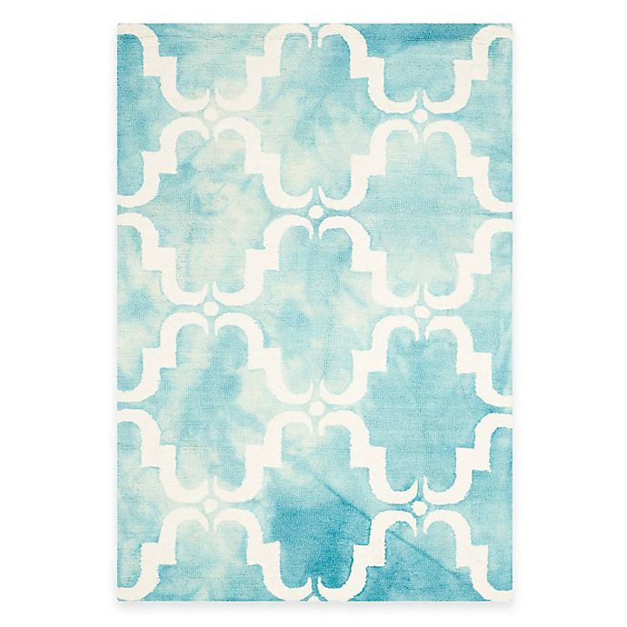 Alternate image 1 for Safavieh Dip Dye Trellis Curve 4-Foot x 6-Foot Area Rug in Turquoise/Ivory