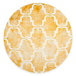 Safavieh Dip Dye Trellis Curve 7-Foot Round Area Rug in Gold/Ivory