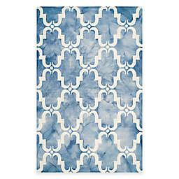 Safavieh Dip Dye Trellis Curve 9-Foot x 12-Foot Area Rug in Blue/Ivory