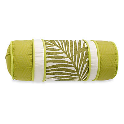 HiEnd Accents Capri Fern Neckroll Throw Pillow in Green/White