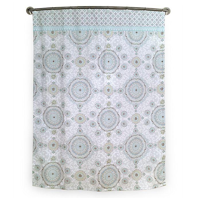 Alternate image 1 for Bardwil Linens Dena Bali Shower Curtain in Ivory/Green/Aqua