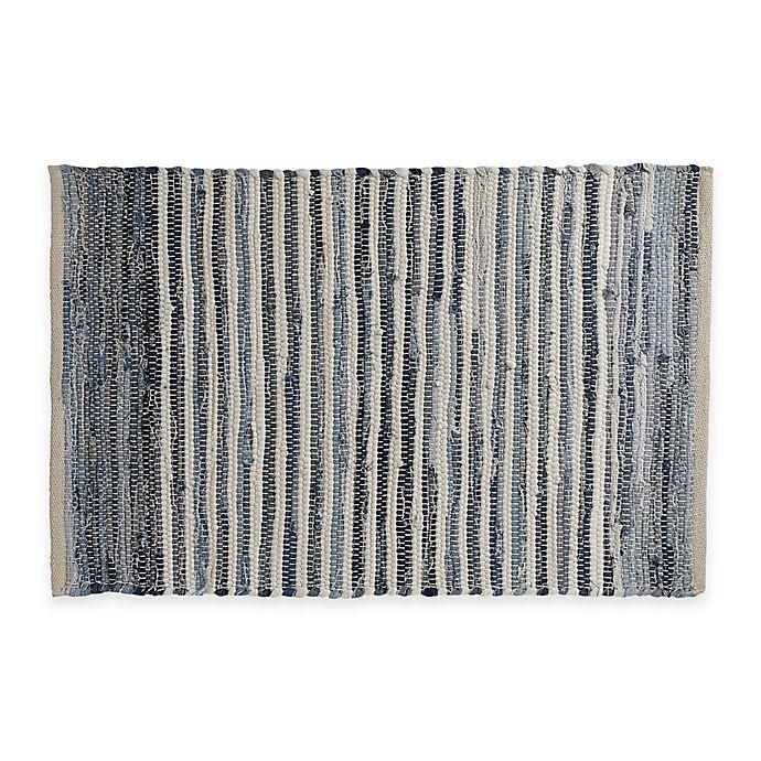 Washable Area Rugs Canada: Chindi Hand-Woven Area Rug In Denim Stripe