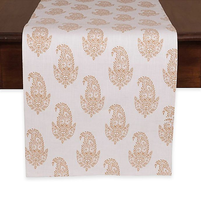 Rani Table Runner In White Gold Bed Bath Amp Beyond