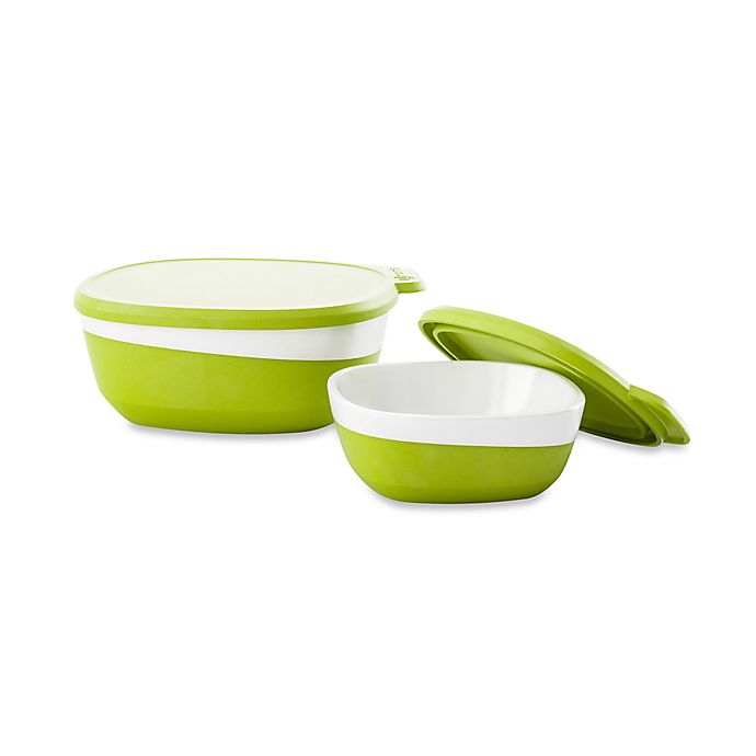 Alternate image 1 for 4moms® 4-Piece Magnetic Bowl Set in Green/White
