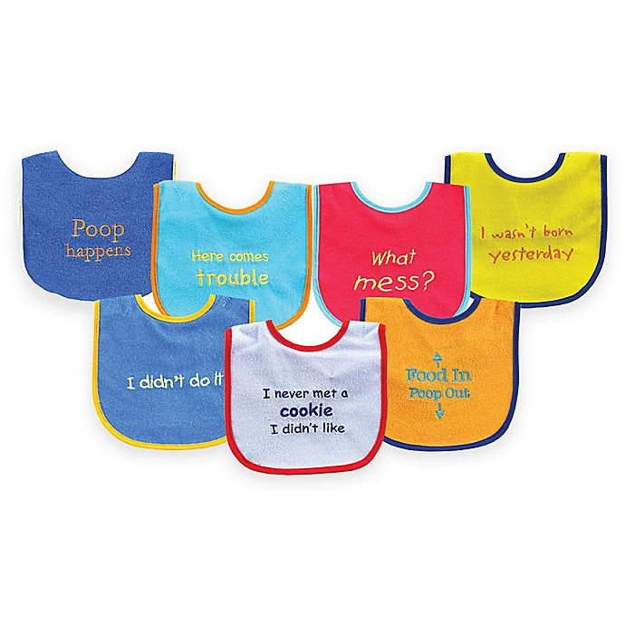 Alternate image 1 for BabyVision® Luvable Friends® 7-Pack Bold Sayings Drooler Bib Set in Blue