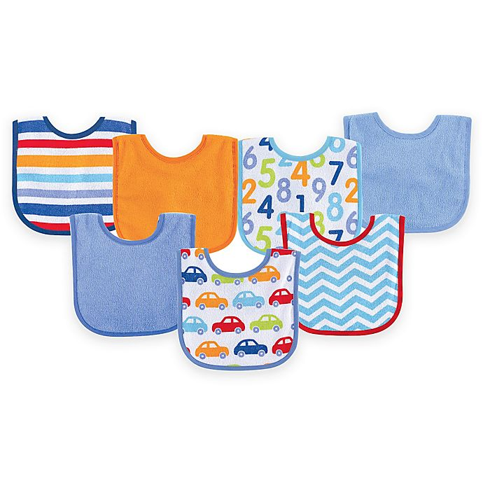 Alternate image 1 for BabyVision® Luvable Friends® 7-Pack Print Drooler Bib Set in Blue