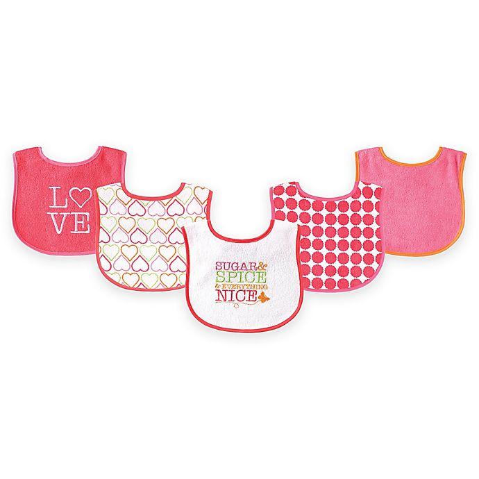 Alternate image 1 for BabyVision® Luvable Friends® 5-Pack Sugar & Spice Bib Set in White