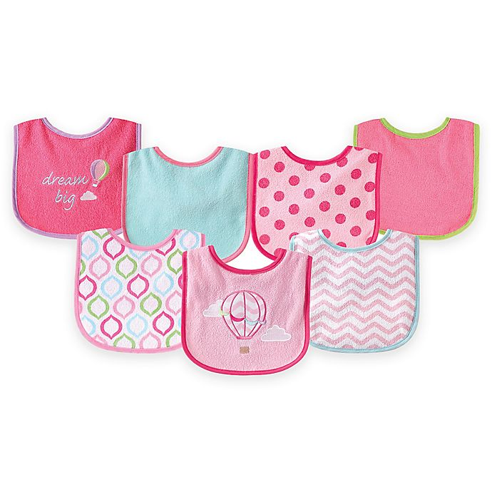 Alternate image 1 for BabyVision® Luvable Friends® 7-Pack Hot Air Balloon Bib Set in Pink