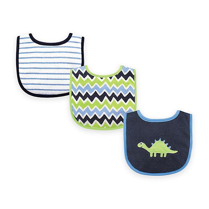 Alternate image 1 for BabyVision® Luvable Friends 3-Pack Dinosaur Drooler Bib Set in Blue