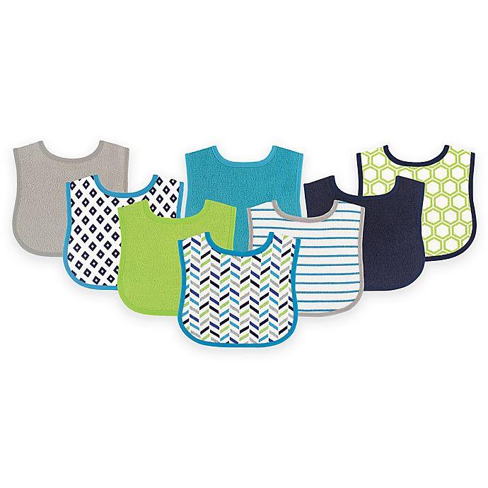 Alternate image 1 for BabyVision® Luvable Friends® 8-Pack Geometric Drooler Bib Set in Blue