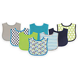 BabyVision® Luvable Friends® 8-Pack Geometric Drooler Bib Set in Blue
