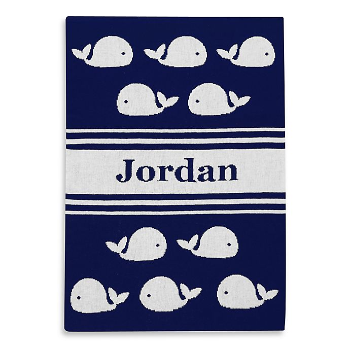 Alternate image 1 for Tadpoles™ by Sleeping Partners Ultra-Soft Knit Whale Blanket in Navy/White