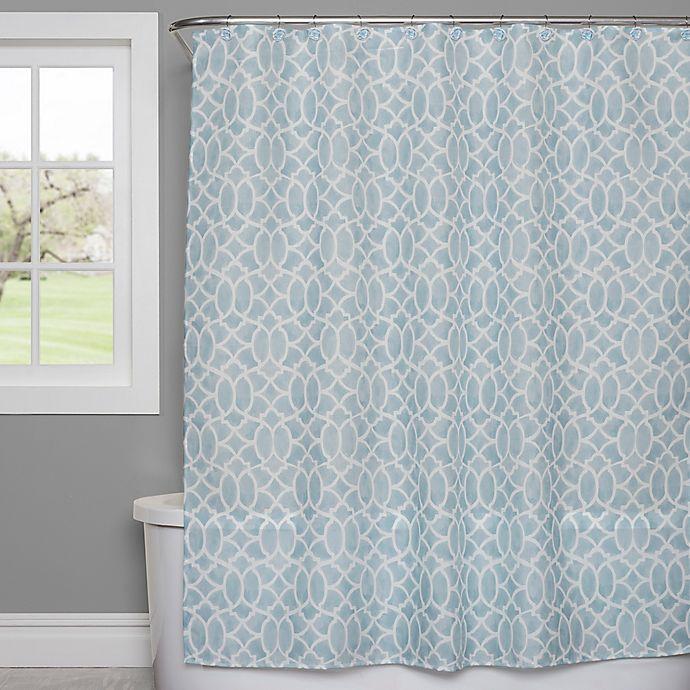Alternate image 1 for Saturday Knight Watercolor Lattice Shower Curtain