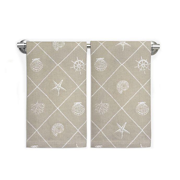 Nautical Guest Towels: Coastal Rope Trim Guest Towels (Set Of 2)