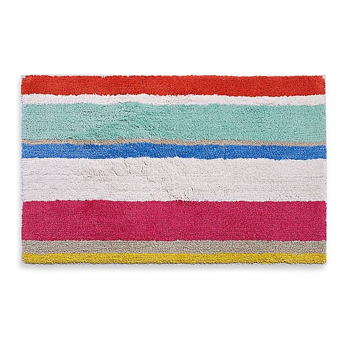 Alternate image 1 for kate spade new york 21-Inch x 34-Inch Paintball Floral Stripe Bath Rug