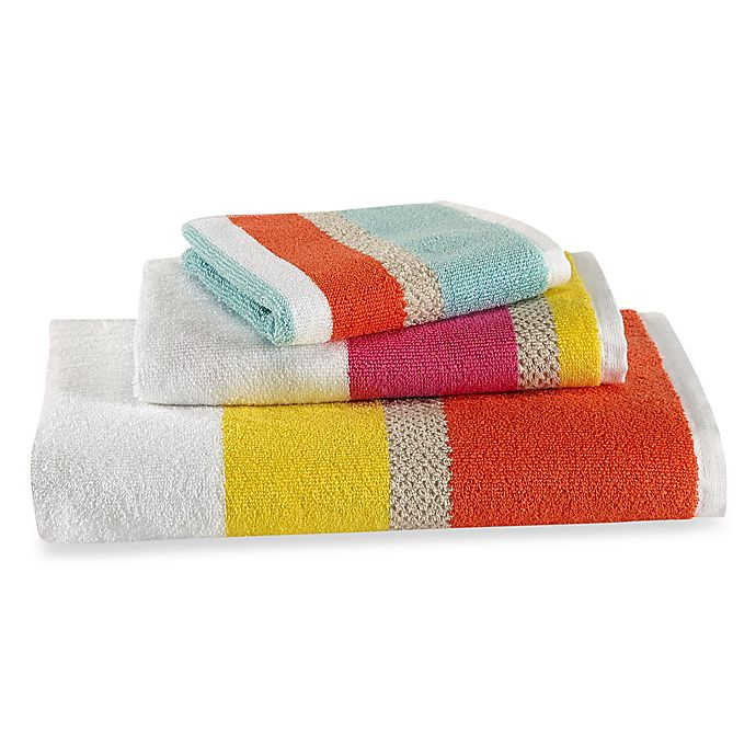Alternate image 1 for kate spade new york Paintball Flora Stripe Bath Towel Collection