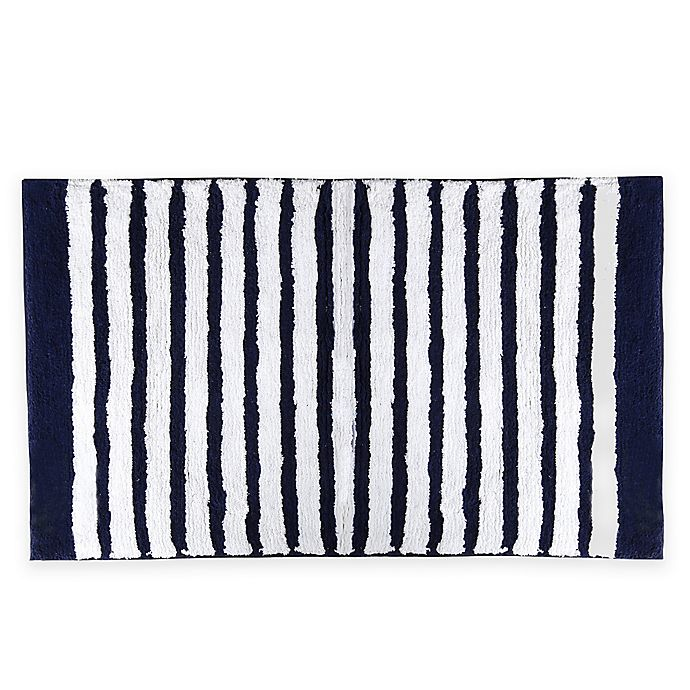 Alternate image 1 for kate spade new York 21-Inch x 34-Inch Harbour Stripe Bath Rug in Navy