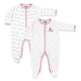 BabyVision® Luvable Friends® 2-Pack Bird Snap-Front Footies in Pink/White