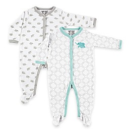 BabyVision® Luvable Friends® 2-Pack Elephant Snap-Front Footies in Grey/Teal